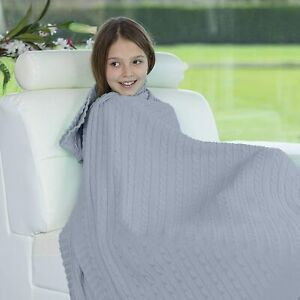 Cable Chunky Knitted Throw Large 100% Acrylic Blanket Lightweight For Sofa Bed