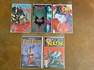 Lot of 5 Faust Comics 7  3  1st Prints Vigil -Shi 1  Night Vision Crimson NUN