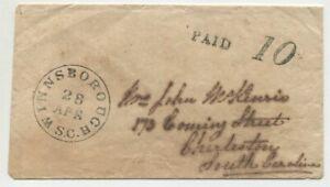 WINNSBOROUGH APR 28 SC 1860's DT IB on cover to  Mrs John McKenzie Charleston SC