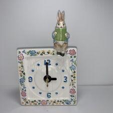 Peter Rabbit Table Or Wall Clock Reading A Book Nursery Beatrix Potter 3D Bunny