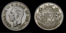 Canada 1938 Silver Fifty 50 Cent Piece King George VI VF-25