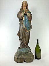 Religious Statue Our Lady of Grace Glass Eyes Antique Polychrome Santos Jesus