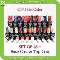 OPI GelColor Kit >SET OF 48 + FREE BASE &TOP Soak Off Gel Nail Colour UV Led Lot