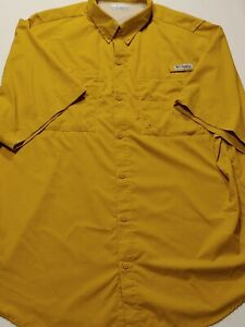 Mustard Yellow Columbia PFG Omni-Shade Outdoor Fishing Shirt S/S Men's Size XL