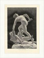 L. H. Marqueste. Perseus, der Gorgonentödter Mythologie Statue Holzstich E 8967