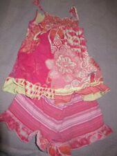 vguc naartjie orange pink smocked top and short set  girls 5 8 y free ship USA