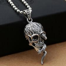 Calavera Y Serpiente Colgante Collar de plata esterlina 100% 925 Biker Punk Gótico Cobra