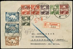 1952 Grønland Greenland Cover Multifranking R-Cover Airmail Israel stamps 1krone