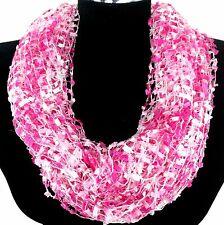 Knit Fringe Confetti Scarf Camo Pink