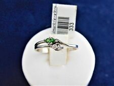 SOLID STERLING SILVER RING 2x2.0mm green garnets & 2x2.0mm cubic zirconias 1.4gr
