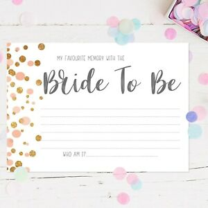 Hen Party Accessories Hen Party Games Memory With The Bride Cards Guessing Game