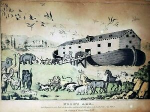 Noah's Ark 1874 Nathan Currier Hand Colored Lithograph *Rare Early Edition