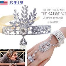 The Great Gatsby Headband SET Tiara + Bracelet 1920's Hat Silver Ivory Flapper