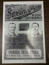 """12 By 18"""" Black & White Picture Virginia City Pioneer Drug Store Sex-ine Pills"""