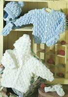 "Baby Knitting Pattern Jacket Cardigan & Hat 16-26"" Double Knitting DK 125"
