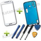 Schermo Vetro per Samsung Galaxy S4 I9500 I9505 Bianco con Biadesivo e Strumenti