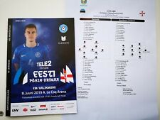 ESTONIA vs. NORTHERN IRELAND June 8th 2019 Euro-2020 Qual. prorgamme +Team Sheet