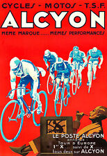 Art Ad Alcyon Motos Bicycle bike Cycle  Deco Auto  Poster Print