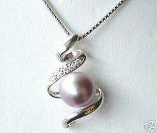 Violet perle de culture,serpent pendentif,avec la chaîne gratuite