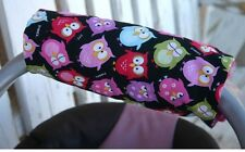 sleepy owls with pink minky infant car seat carrier handle cushion