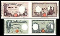 2x  50, 100 Lire - Ausgabe 1932 - 1936 - Reproduktion - 10