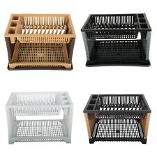 Violet Plastic Rattan Dish Drainer Rack with Dip Tray (Removable) , 2 Layer