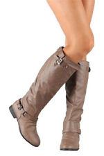 NEW 6 COGNAC KNEE HIGH RIDDING WOMAN BOOT FLAT HEEL COMBAT SLOUCH BUCKLE SEXY C1