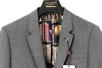 TED BAKER Grey Dogtooth Wool Jacket Coat Blazer & TB Suit Bag UK42L IT52L NEW