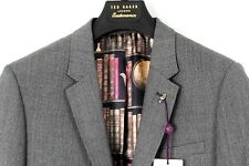 TED BAKER Grey Textured Dogtooth Wool Gather Jacket Blazer BNWT UK42R