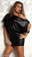 NEW 4719 Black Metallic Cocktail Mini DRESS zipper Club wear Rave Party S M L