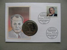 GERMANY BRD, coincover FDC 1993, 80th birthday Willy Brandt, coin $1 Liberia