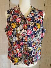 Christopher Banks Denim Stretch Vest Women's LARGE vintage Travel Shirt