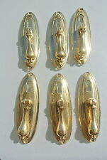 "6 LARGE 1920s pulls handles POLISHED  door old antique style drops knobs 4"" KH"