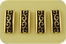 2 Hole Beads Rococo Baroque Pattern Raised Filigree Bars Gold Metal Sliders Qty4