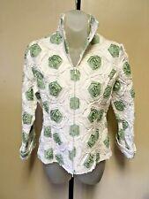 Samuel Dong White/Green Cotton Blend Zip Up Jacket - Small