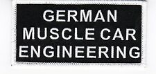 GERMAN MUSCLE CAR ENGINEERING SEW/IRON PATCH PORSCHE AUDI BMW EMBROIDERED