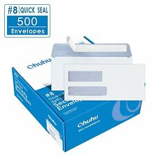 500 Count #8 Double Window Envelopes QUICK SEAL ADHESIVE Security Tinted