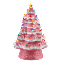 "MR. CHRISTMAS 16"" LED RETRO NOSTALGIC CERAMIC LIGHT UP CHRISTMAS TREE PINK ~ NEW"