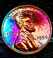 """1958 PROOF Lincoln Wheat Penny Cent- """"Beautifully Toned"""" MS++ GEM++ BU++ 02"""