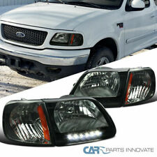 For 97-03 F150 97-02 Expedition Smoke LED Driving Headlights+Corner Lamps Pair
