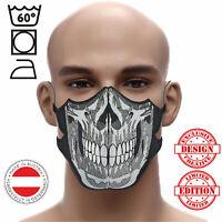💀Totenkopf Skull Head Maske⚫ Heavy Metal ↔️Gr. Ver Mund-Nasenschutz➤60° 🧺
