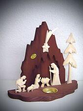Holz Krippe geschnitzt 23 cm Christi Geburt Heilige Familie mit Baum 63011