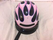 Unbranded Pink Black Flames DOT Approved Fiber Glass Helmet Motorcycle 32244