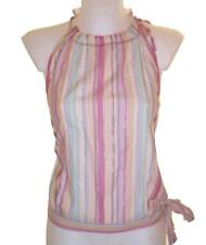 Bnwt Women's French Connection Strappy Cami Top Gold Thread Foil Pink Multi New