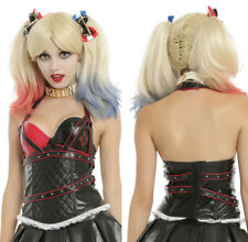 HARLEY QUINN Joker Black Red Quilted Corset Top Bustier Cosplay Costume S - NWT