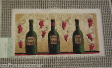 Kitchen Mat Rug 18 x 30 Good Friends Wine Life Fat Chef Grapes 3 wine bottles