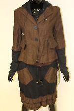Womens FUNKY Jacket & skirt set Cotton tweed pattern Black & Brown Sizes 10-14