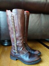 Anthropologie AREA FORTE Womens Brown Leather Side Zip Chain Boot SIZE 36