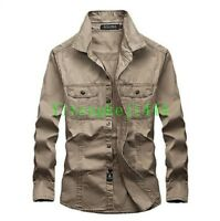 Long Sleeve Shirt Men Chic Military Outdoor Tactical Army Security Work Shirt