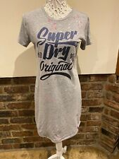 Superdry Ladies Grey T Shirt Dress Size 10 Very Good Condition